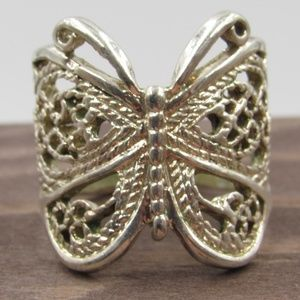 Size 7.5 Sterling Silver Rustic Butterfly Band